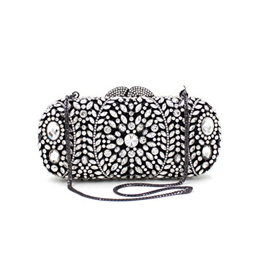 Carved Shoulder Metal Dinner Evening Evening Clutches Lady Colorful Luxury Party Embroidery Bag Flowers Rose Bags Chain xwYBUqHU