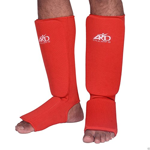 4Fit Shin Instep Protectors, Guards Pads Boxing, MMA, Muay Thai (Red, small) - Grappling Shin Instep Guards