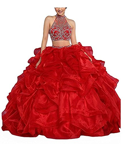 Piece Red ANGELA Long Dresses s 2 Quinceanera Ruffles Prom Ball Women Gown Zww6cPR0q