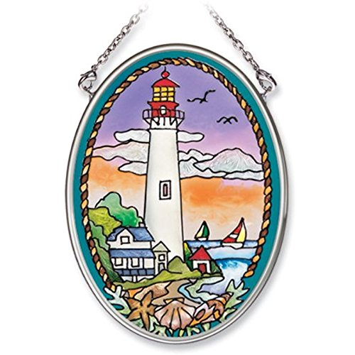 Suncatcher Lighthouse (Amia Hand Painted Glass Suncatcher with Cape May Lighthouse Design, 3-1/4-Inch by 4-1/4-Inch Oval)
