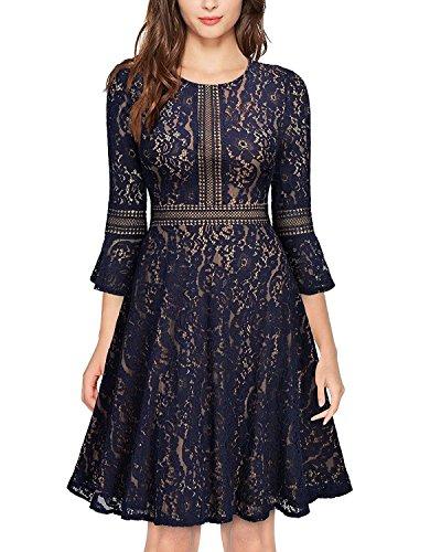 las y nuevo de elegante encaje de de loto mujeres invierno hoja negro el y niñas de las de vestido de autocultivo Otoño encaje vxfnY0FwqA