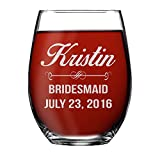 Monogrammed Personalized Stemless Wine Glasses - Bridesmaid Gifts, Engraved Customized for Free