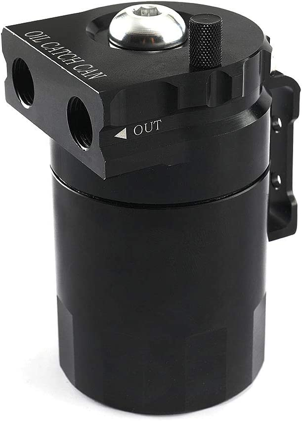 VISLONE Oil Catch Can Tank with Breather Tank Reservoir Filter Baffled Aluminum Universal OCC025