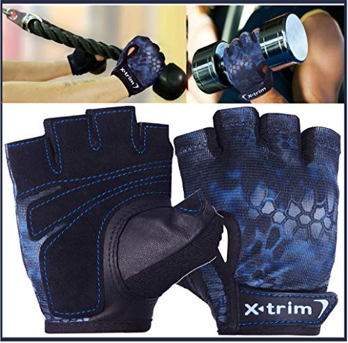 XTRIM Men's Suede Leather and Anti microbial Polyester Spandex Mesh Double Stitched Gym Gloves Price & Reviews