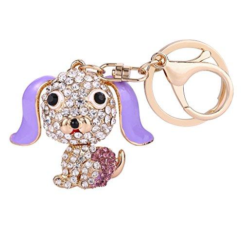 EVER FAITH Women's Austrian Crystal Purple Enamel Lovely Puppy Pet Animal Keychain Clear Gold-Tone