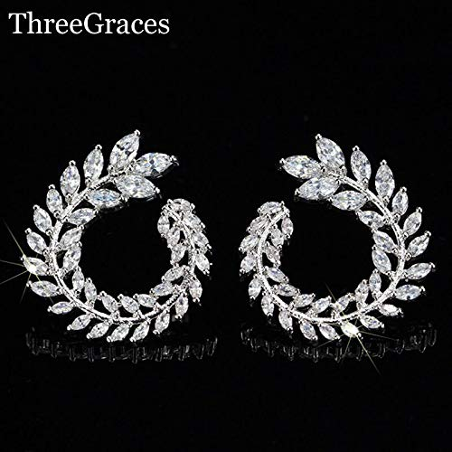 (Famous Design Sparkling Olive Branch Leaf Shape Marquise Cut Luxury Cubic Stud Earrings for Women Er282 (as Photo))