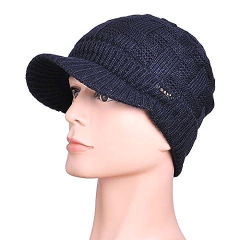 JF-Sunshine Men's Winter Double Layer Thick Warm Knit Hat Cap with Brim JMH14 (Navy)