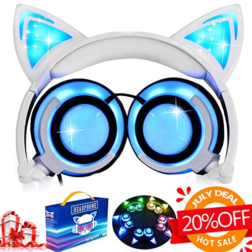 Kids Cat Ear Headphones for Girls Boys Toddlers with Microphone LED Light 85dB Volume Limit USB Rechargeable Wired Foldable Over/On Earphones Game Headsets for Phone Tablets PC Travel[Super Sale] -