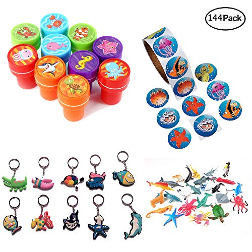 iMagitek Ocean Sea Animal Party Favor Set - 10 Sea Animal Stampers, 100 Sea Animal Stickers, 24 Pack Small Sea Animal Toys and 10 Pack Ocean Animal Keychains Toys -