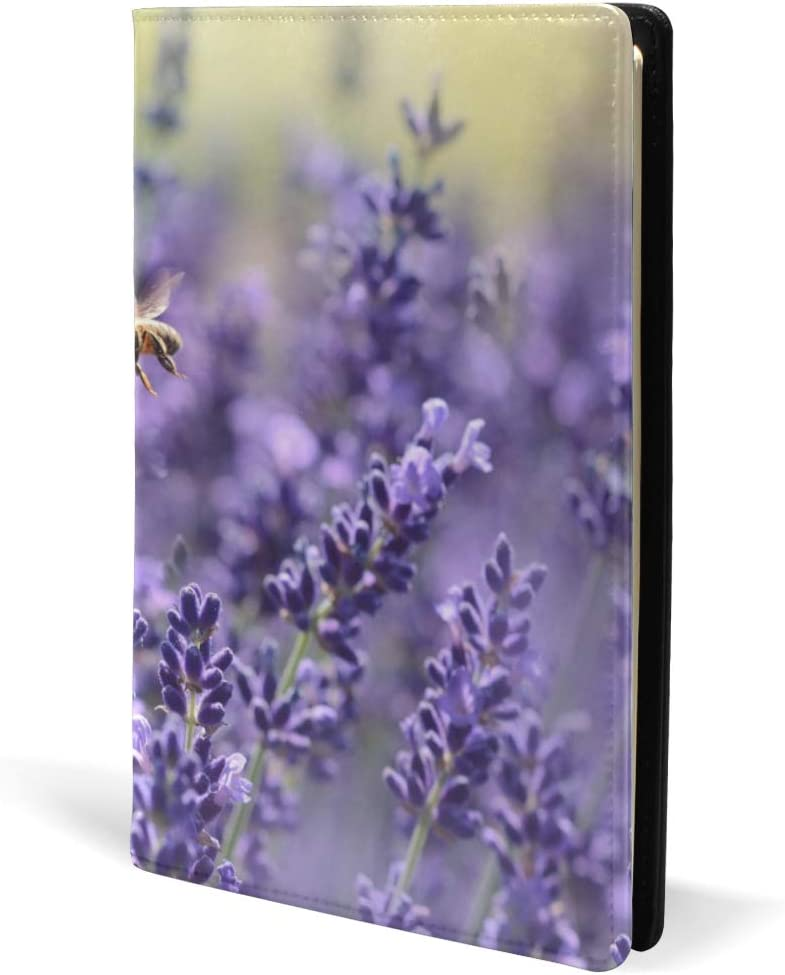 Lavender Green Flower Book Covers Leather School Office Notebook Textbooks Paperback Hardcove A5 5.8 x 8.7 for Girls Boys
