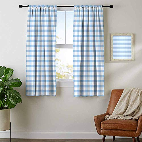 (Mozenou Checkered, Window Treatments Curtains Valance, Little Squares and Stripes Pastel Color Gingham Repeating Rows Vintage Tile, Curtains for Living Room, W72 x L45 Inch Light Blue White)