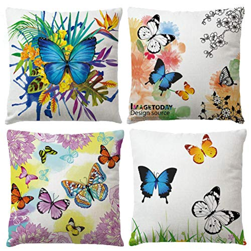 7ColorRoom Watercolor Flower Butterfly Pillow Cover Tropical Plants Leaves Cushion Cover Decorative Square Pillowcases Cotton Linen Cushion Cover 18 X 18 Inch 4 Pack (Butterfly) ()