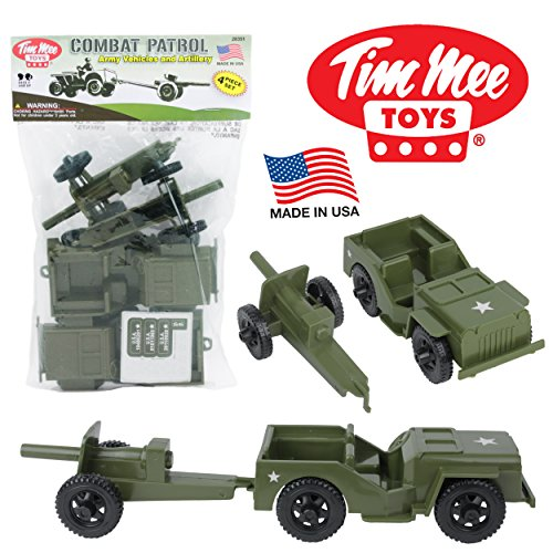 - TimMee COMBAT PATROL Willys & Artillery - Green 4pc Playset USA Made