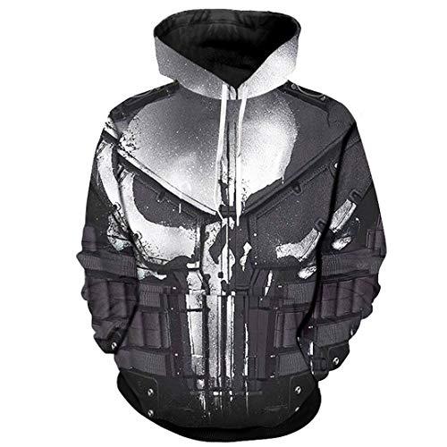 (SaoBiiu Cosplay Hoodies for Men Skull 3D Print Sweatshirts Cool Punisher Hoodies Photo Color XXXL)
