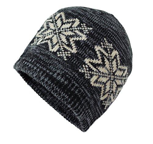 Bruceriver Unisex Snowflake Knit Cap Hat Colour Dk.Gray