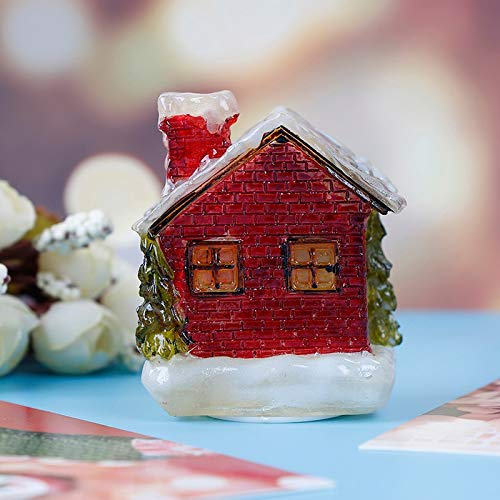 Figurines & Miniatures - Cute Friends Gift Christmas Resin Snow Scene House Fairy Garden Terrarium Figurine Miniatures Home - Silver Miniatures Metal ()