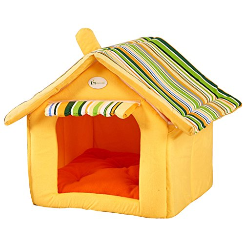 Joycentre House Shape Sleeping Kennel Dog House Pet Bed Cozy Cat Cave Puppy Bed Shelter House(M: 40cm(L) x 35cm(W) x 35cm(H),Yellow)