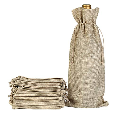 Beautymei 15pcs Jute Wine Bags Wraps 13.3 x 5.9 inches Nature Linen Jute Wine Bottle Gift Bags Package with Drawstring