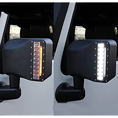 Xprite Clear Lens LED Side Mirror with White Spot Lights and Amber Turn Signal Lights for 2007-2020 Jeep Wrangler JK JKU: Automotive