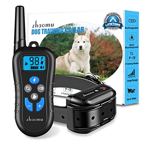 DOG TRAINING COLLAR 1000 yard REMOTE RANGE DOG SHOCK COLLAR WITH TONE,VIBRATION,STATIC SHOCK, RECHARGEABLE E-COLLAR 100% DEEP WATERPROOF ADJUSTABLE SHOCK COLLARS FOR SMALL/MEDIUM/LARGE DOGS (10~100lb) ()