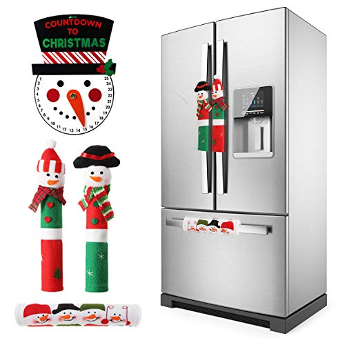 Snowman Christmas Decorations (MSDADA Adorable Snowman Refrigerator Handle Covers Set & Snowman Countdown Calendar,Fits Standard Size Kitchen Appliance Microwave Oven Door For Christmas New Year Holiday Decorations)