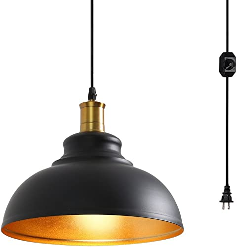 Surpars House 1-Light Plug in Pendant Light with Dimmer Switch in Line