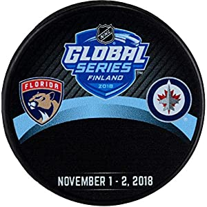 2018 Global Series Florida Panthers vs. Winnipeg Jets Unsigned Commemorative Autograph Model Hockey Puck Fanatics Authentic Certified