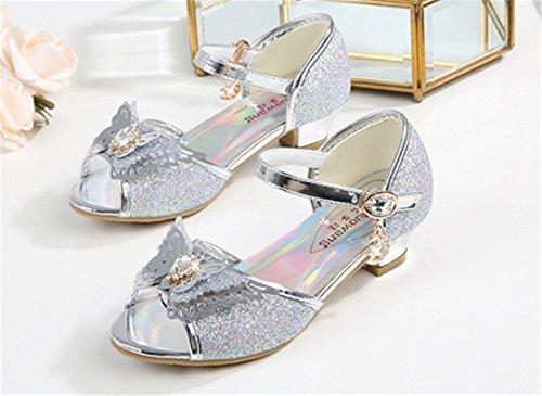 YOGLY Sandalias Para Niñas 2018 Verano Niña Disfraz de Princess Crystal Zapatos de Tacón Lentejuelas Brillantes Diamante de Imitación Plateado