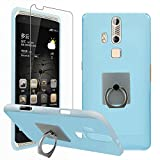 ZTE AXON A2015 Case with Phone Stand Holder + Screen Protector, Gzerma Soft Shock-Absorbing TPU Durable Protection Cover with 360 Rotation Kickstand and Shatter-proof Protective Film for ZTE Axon A2015 (Blue)