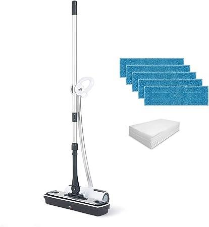 Polti Moppy White Premium Limpiador Vapor sin Cables, con Extra dotación de paños para Todo Tipo de Suelos y Superficies Verticales Lavables, Acero Inoxidable, Blanco: Amazon.es: Hogar
