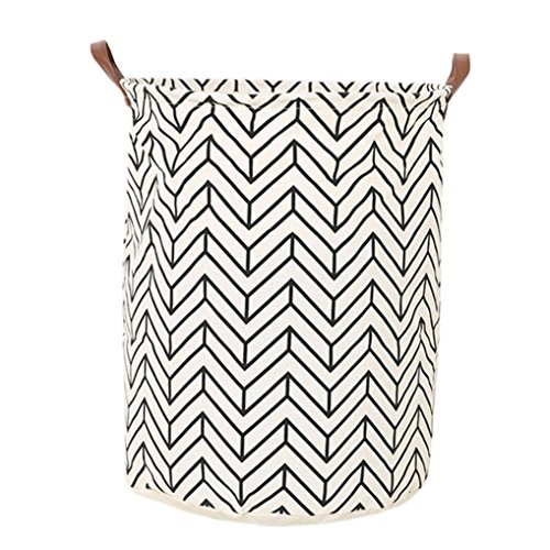 Leegor 50 x 40cm Waterproof Canvas storage barrel Sheets Laundry Durable Clothes Laundry Basket Storage Basket folded Storage Box (A) - Canvas Floral Basket