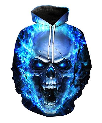 Men Hoodie Steampunk Melted Skull Print Punk Rock Pullovers