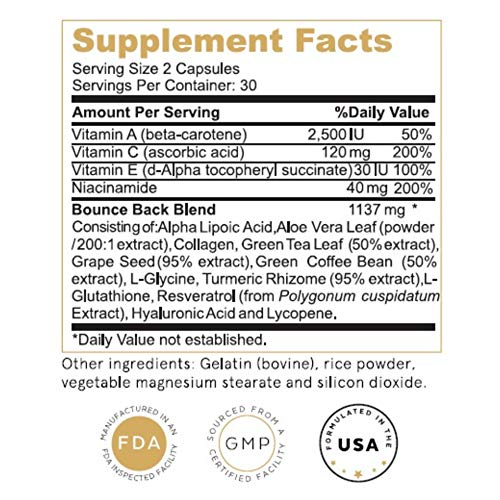 51UAzGHOjLL - Collagen, Turmeric, Glutathione + C, E, Hyaluronic Acid, Antioxidants, Anti-Aging Skin Vitamins All-in-One | Bounce Back Blend by Leulo (60 Caps) Supplement for Women & Men | Skin Beauty Age Defying