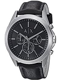 Armani Exchange AX2604 Watch, Men, Stainless Steel Black Leather