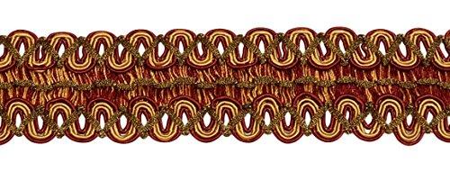 DÉCOPRO 6 Yard Value Pack of Vintage 2 Inch (5cm) Wide Wine (deep red), Gold Gimp Braid Trim - Carmine Gold 1253 (18 Ft / 6.5M)