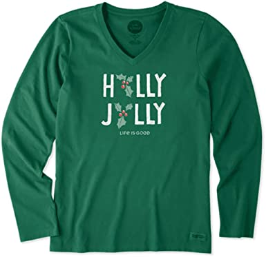 60ce534048b Life is Good. Womens Long Sleeve Crusher Vee  Holly Jolly