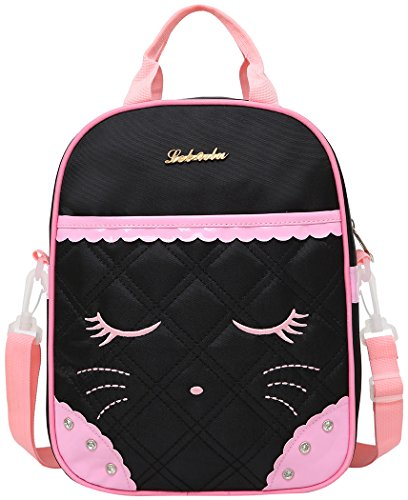Cute Cat Face Bow Diamond Bling Waterproof Pink School Backpack Girls Lunch bags (Black) (Pink Girl School)
