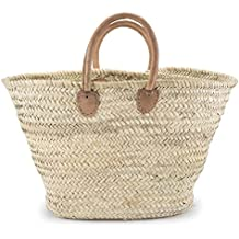 "Moroccan Straw Shopper Bag w/ Brown Leather Handles - 22""Lx8""Wx15""H - Palermo"