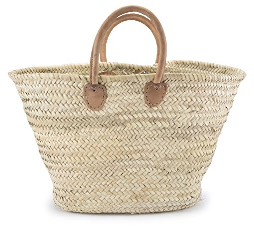 Moroccan Straw Shopper Bag w/ Brown Leather Handles - 22