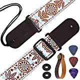 "Guitar Strap 5cm/2"" Width Leather Ends and Leather Strap Hooks Sun Flower Jacquard Vintage Woven Guitar Shoulder Strap with 2 pcs Picks, 2 pcs Guitar Strap Lock for Bass and Guitars"