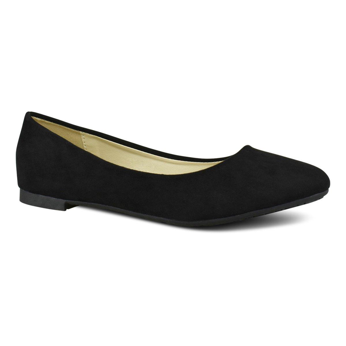 Premier Standard Women's Classic Round Toe Ballerina Walking Slip on Suede Flats Comfortable Closed Toe Ballet