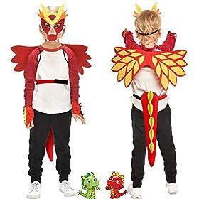 - 51UAzyY1JXL - Flying Childhood Toddler Kids Dragon Wings Costume Mask and Bracelets for Boys Girls Dinosaur Dress Up Party Gifts