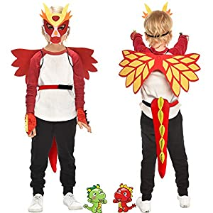 - 51UAzyY1JXL - Flying Childhood Toddler Kids Dragon Wings Costume Mask and Bracelets for Boys Girls Dinosaur Dress Up Party Gifts