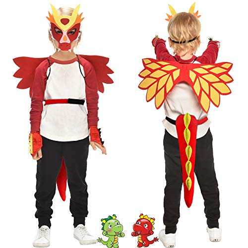 Flying Childhood Toddler Kids Dragon Wings Costume Mask and Bracelets for Boys Girls Red Blue Dinosaur Dress Up Party Gifts