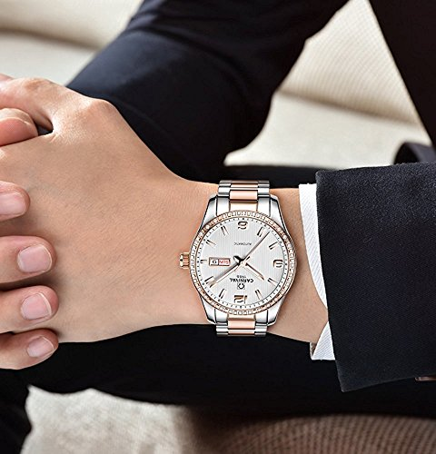 Couple Stainless Steel Automatic Mechanical Watch Sapphire Glass Watches for Her or His Gift Set 2 (Rose Gold/White) by MASTOP (Image #3)