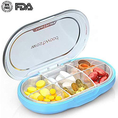 Travel Pill Box, LifeEasier Portable BPA Free Tritan Weekly Fish Oil Supplements Vitamin Pills Medicine Pocket Organizer Case with 6 Compartments for Hiking and Camping Outdoors Sports (Blue) 6 Pocket Weekly Organizer