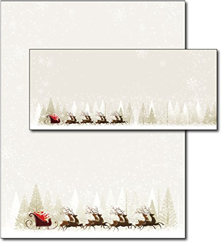 Santa & Reindeer Holiday Letterhead & Envelopes (Christmas Stationery Envelopes And)