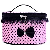 Kaitobe Clearance Makeup Bags for Women, Bow Lace Portable Travel Toiletry Bag Cosmetic Bags Organizer Zippered Handbag