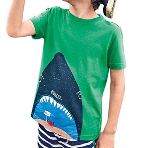 T Adeshop bambini Camicie Stretch stampato affascinante Top colore Top squalo corta Abbigliamento Casual rotondo per di manica Cartoon colletto puro shirt verde rqqEStxw