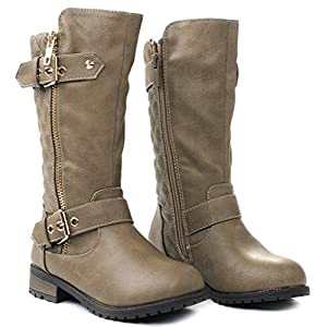 Kids Girls Mango21 Taupe Dual Buckle/Zipper Quilted Mid Calf Motorcycle Boots